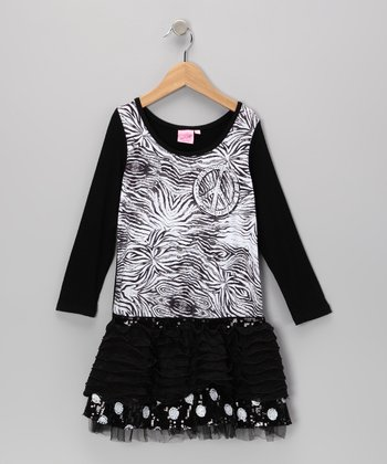 Black Daredevil Polka Dot Dress - Toddler