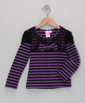 Purple Stripe Bow Top - Toddler & Girls