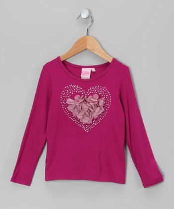 Fuchsia Heart Petal Tee - Toddler & Girls