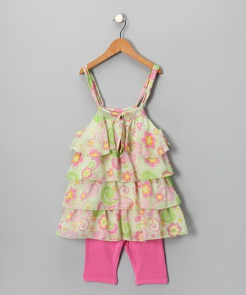 Lime & Pink Floral Tunic & Leggings - Girls