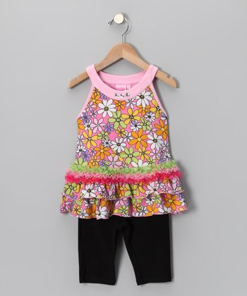 Pink Retro Floral Yoke Top & Leggings - Girls