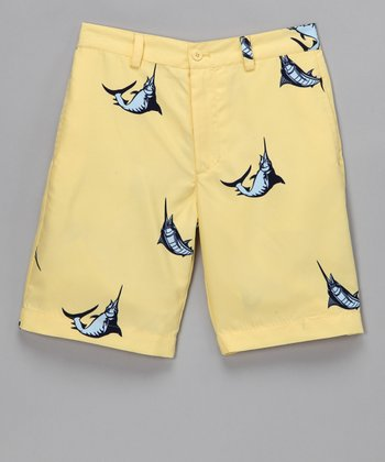 Yellow Pompano Beach Marlin Shorts - Boys