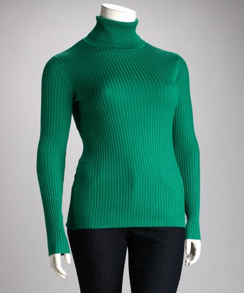 Lisa International Green Ribbed Plus-Size Turtleneck