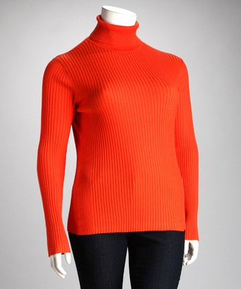 Lisa International Orange Ribbed Plus-Size Turtleneck