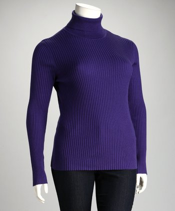Lisa International Purple Ribbed Plus-Size Turtleneck