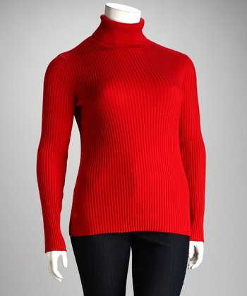 Lisa International Red Ribbed Plus-Size Turtleneck