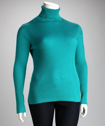 Lisa International Teal Ribbed Plus-Size Turtleneck