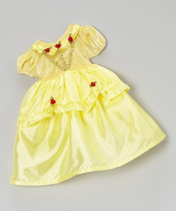 Yellow Floral Lace Doll Dress
