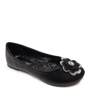 Black Flower Carly Flat