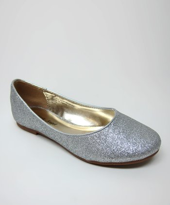 Little Angel Silver Glitter Enna Flat