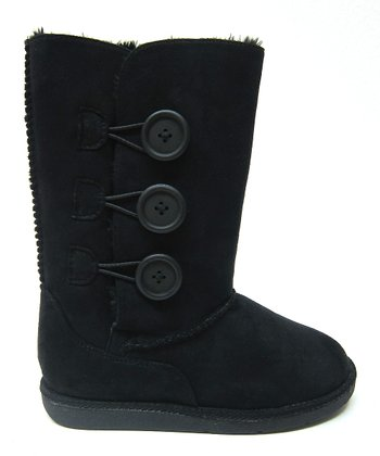 Black Button Hug Boot