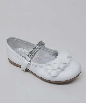 White Rhinestone Ruffle Kelly Mary Jane