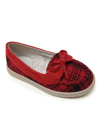 Red Plaid Love Flat