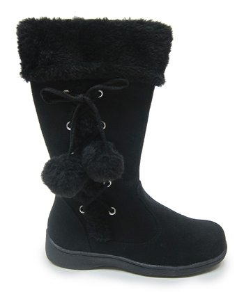 Black Pom-Pom Winter Boot