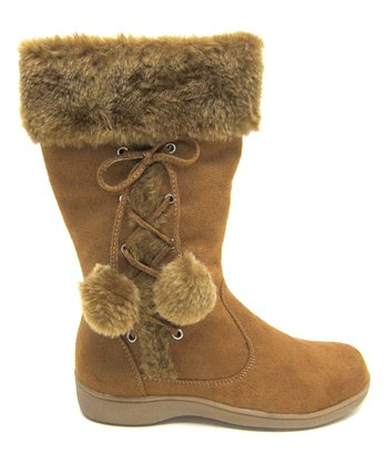 Camel Pom-Pom Winter Boot