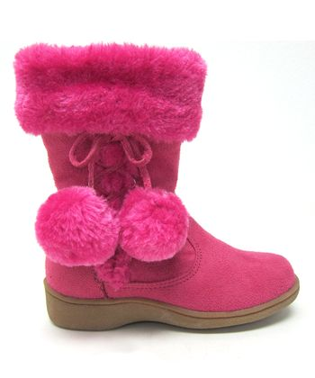 Hot Pink Pom-Pom Winter Boot