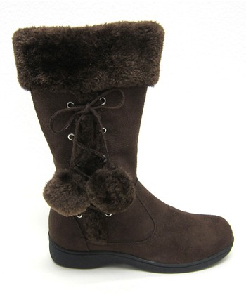 Brown Pom-Pom Winter Boot