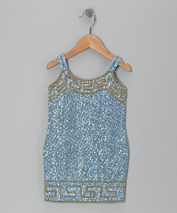 Baby Blue Grecian Sequin Dress - Toddler & Girls