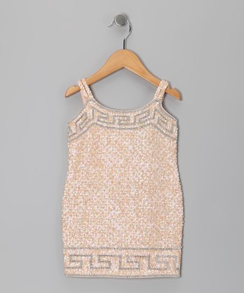 Baby Pink Grecian Sequin Dress - Toddler & Girls