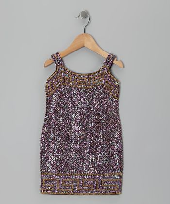 Burgundy Grecian Sequin Dress - Toddler & Girls