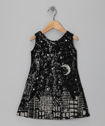 Black Sequin Cityscape Dress - Toddler