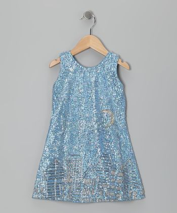 Baby Blue Sequin Cityscape Dress - Toddler