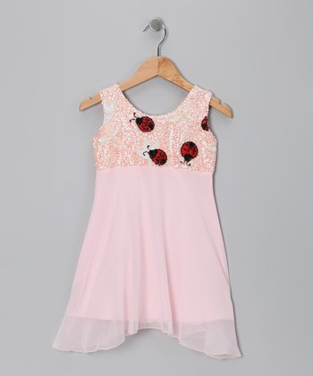 Light Pink Sequin Ladybug Dress - Toddler & Girls