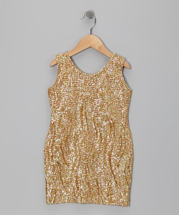 Gold Sequin Dress - Toddler & Girls