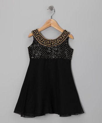 Black Grecian Chiffon Dress - Toddler & Girls