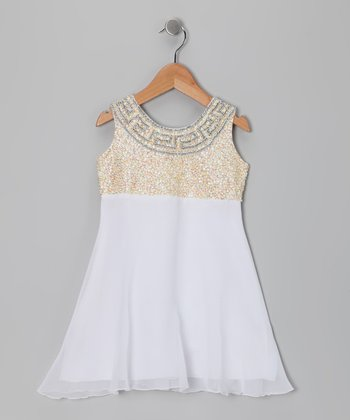 Gold Grecian Chiffon Dress - Toddler & Girls