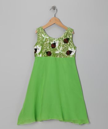 Lime Green Sequin Ladybug Dress - Girls