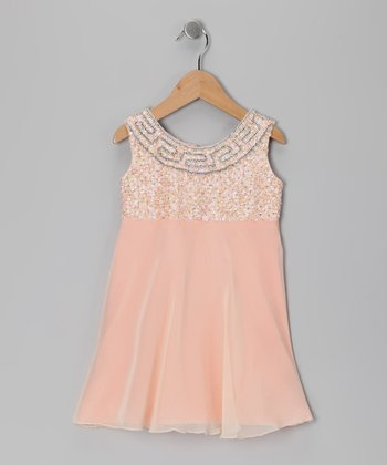 Peach Grecian Chiffon Dress - Toddler & Girls