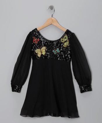 Black Butterfly Sequin Dress - Toddler & Girls