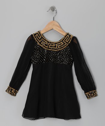 Black Grecian Sequin Dress - Toddler & Girls
