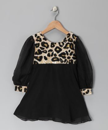 Black Leopard Sequin Dress - Girls