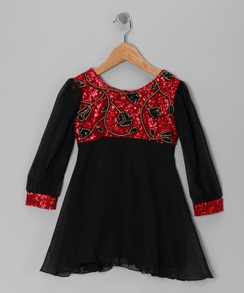 Red Floral Sequin Dress - Toddler & Girls