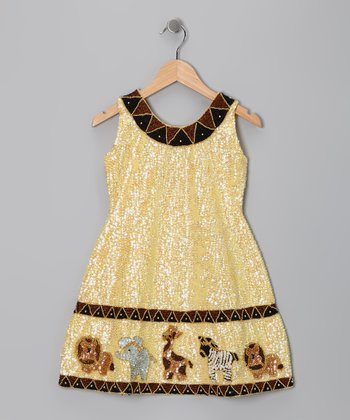 Yellow Sequin Safari Dress - Toddler & Girls
