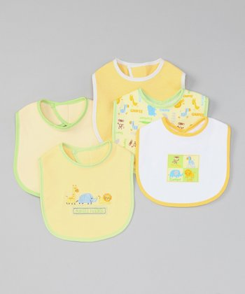 Yellow 'Jungle Friends' Bib - Set of Five