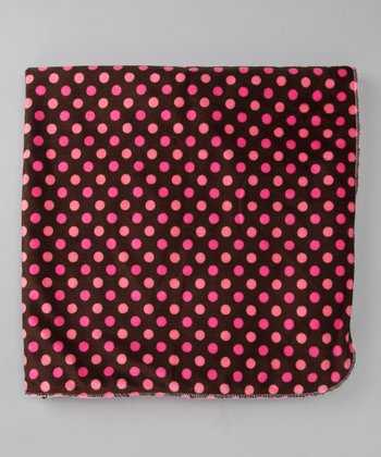 Pink & Brown Polka Dot Fleece Stroller Blanket