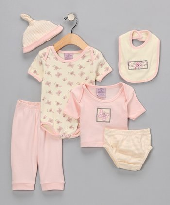 Pink & Yellow Butterfly Garden Bodysuit Set - Infant