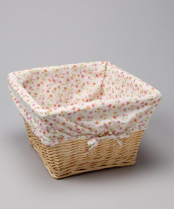 Floral Cover & Natural Wicker Basket