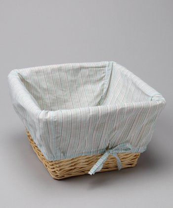 Blue Stripe Cover & Natural Wicker Basket