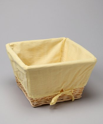 Yellow Cover & Natural Wicker Basket