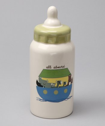 Green Noah Ceramic Bottle Bank