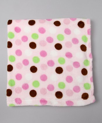 Pink Polka Dot Fleece Stroller Blanket