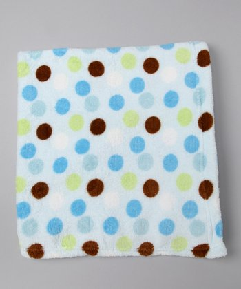 Blue Polka Dot Fleece Stroller Blanket