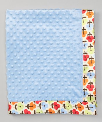 Blue Poppy Satin-Trim Velour Stroller Blanket