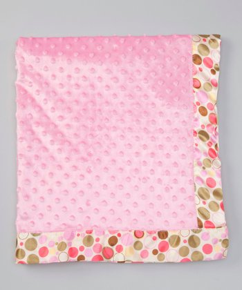 Pink Bubbles Satin-Trim Velour Stroller Blanket