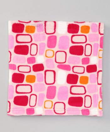 Pink Tile Fleece Stroller Blanket