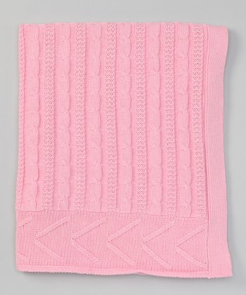 Pale Pink Cable-Knit Stroller Blanket